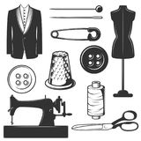 Vector vintage tailor icons, symbols set. Vector set of vintage tailor symbols, icons isolated on white background. Black templates for logos and print Stock Photo