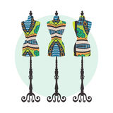 Vector vintage tailor's dummy set with decorative. Ethnic ornament, t-shirt print or invitation card design Stock Images