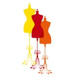 Vector vintage tailor's mannequin Stock Images