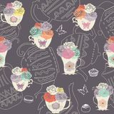 Vector vintage teacups and teapots seamless pattern dark background with butterflies, cakes and flowers. vector illustration