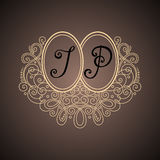 Vector Vintage Template with Ornate Monogram Royalty Free Stock Photos