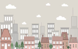 Vector vintage town house building landscape with tall buildings as background. With cloud and grey sky Royalty Free Stock Photography