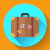 Vector vintage Travel Suitcase icon with long shadow. Flat design style Stock Images