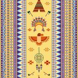 Vector vintage tribal ethnic seamless pattern for. Business. Pipe of peace, Indian housing Royalty Free Stock Photos