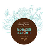 Vector Vintage Turquoise Chocolate Brown Frame Floral Drawing Wedding Invitation  Stock Photography