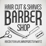 Vector vintage typeface Barbershop. Vector font. Vector vintage typeface Barbershop . Vector font with style effects Royalty Free Stock Image