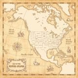 Vector Vintage US map. Vector vintage map of the Unites States of America with high quality illustrations of wind roses, sailing ships and sea monsters, on a Royalty Free Stock Photo