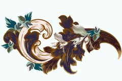 Vector vintage Victorian ornament with foliage royalty free illustration