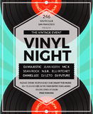 Vector vintage vinyl LP DJ party poster Stock Photos