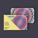 Vector vintage visiting card set. Floral mandala pattern and ornaments. Oriental design Layout. Islam, Arabic, Indian, ottoman mot Stock Photos