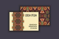 Vector vintage visiting card set. Floral mandala pattern and ornaments. Oriental design Layout. Islam, Arabic, Indian, ottoman mot Stock Image