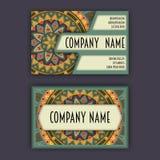 Vector vintage visiting card set. Floral mandala pattern and ornaments. Oriental design Layout. Islam, Arabic, Indian, ottoman mot Royalty Free Stock Photo