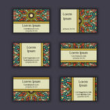 Vector vintage visiting card set. Floral mandala pattern and ornaments. Oriental design Layout. Islam, Arabic, Indian, ottoman mot Royalty Free Stock Photography