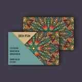 Vector vintage visiting card set. Floral mandala pattern and ornaments. Oriental design Layout. Islam, Arabic, Indian, ottoman mot Royalty Free Stock Photos