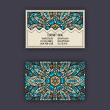 Vector vintage visiting card set. Floral mandala pattern and ornaments. Oriental design Layout. Islam, Arabic, Indian, ottoman mot Stock Images