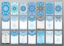 Vector vintage visiting card set. Floral mandala pattern and ornaments. Oriental design Layout. Merry chistmas and Happy. New Year snowflakes blue cards. Front Stock Images