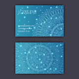 Vector vintage visiting card set. Glowing shiny floral mandala pattern and ornaments. Luxury design. Stock Photography