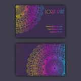 Vector vintage visiting card set. Glowing shiny floral mandala pattern and ornaments. Luxury design. Royalty Free Stock Photos