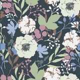 Vector vintage watercolor natural seamless pattern with anemone royalty free illustration