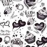 Vector vintage wedding sketch seamless pattern Stock Photography