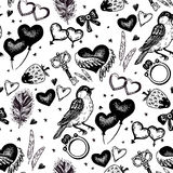 Vector vintage wedding sketch seamless pattern Royalty Free Stock Photo
