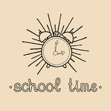 Vector vintage Welcome Back to school logo or badge. Retro sign with alarm clock. Children education icon. Royalty Free Stock Images