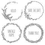 Vector vintage wreaths. Collection of trendy cute. Floral frames. Graphic design elements for wedding cards, prints, decoration, greeting cards. Hand drawn vector illustration