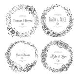 Vector vintage wreaths. Collection of trendy cute floral frames. Graphic design elements for wedding cards, prints, decoration, greeting cards. Hand drawn Stock Image