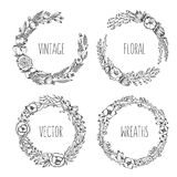 Vector vintage wreaths. Collection of trendy cute floral frames. Graphic design elements for wedding cards, prints, decoration, greeting cards. Hand drawn Stock Photography