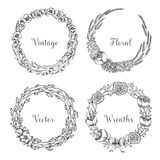 Vector vintage wreaths. Collection of trendy cute floral frames. Graphic design elements for wedding cards, prints, decoration, greeting cards. Hand drawn royalty free illustration