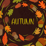 Vector vintagr autumn card with wreath from leaves and acorns. - Stock Image