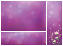Vector violet background and banners for design. Stock Images