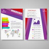 Vector violet design Brochure Flyer design Layout template. Size A4, Front page and back page eps 10 Stock Photos