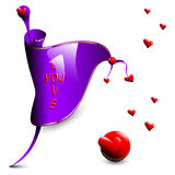 Vector violet flag with red hearts Stock Image