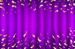 Vector violet purple Curtain gold Confetti Greeting Card, background with Free Space. Luxury, Glamour Design with Shine Sparkles. Art Stock Photos