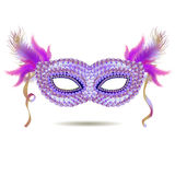 Vector violet venetian carnival mask with feathers. EPS Royalty Free Stock Photography