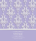 Vector Violet Vintage Invitation Card with 3d Floral Damask Pattern Stock Photos