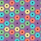 Vector violette, grüne, gelbe, rote und cyan-blaue Farben des Farbsechseckige Musters Lizenzfreie Stockfotos