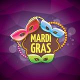 Vector violetten Hintergrund des New- Orleanskarnevalvektors mit Unschärfelichtern, Karnevalsmaske und Text Vektorkarnevalpartei Lizenzfreies Stockfoto