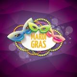 Vector violetten Hintergrund des New- Orleanskarnevalvektors mit Unschärfelichtern, Karnevalsmaske und Text Vektorkarnevalpartei Lizenzfreie Stockbilder
