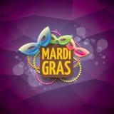 Vector violetten Hintergrund des New- Orleanskarnevalvektors mit Unschärfelichtern, Karnevalsmaske und Text Vektorkarnevalpartei Lizenzfreie Stockfotos
