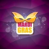 Vector violetten Hintergrund des New- Orleanskarnevalvektors mit Unschärfelichtern, Karnevalsmaske und Text Vektorkarnevalpartei Stockbild