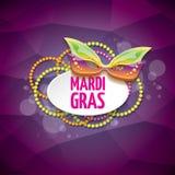 Vector violetten Hintergrund des New- Orleanskarnevalvektors mit Unschärfelichtern, Karnevalsmaske und Text Vektorkarnevalpartei Lizenzfreie Stockfotografie
