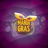 Vector violetten Hintergrund des New- Orleanskarnevalvektors mit Unschärfelichtern, Karnevalsmaske und Text Vektorkarnevalpartei Stockfotografie