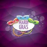 Vector violetten Hintergrund des New- Orleanskarnevalvektors mit Unschärfelichtern, Karnevalsmaske und Text Vektorkarnevalpartei Stockfotos
