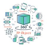 Vector virtual reality concept - 3D object icon stock illustration