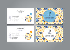 Vector visit card blue flowers on grey field. With shadow Stock Photography