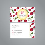 Vector visit card cherry pattern Royalty Free Stock Images