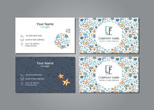 Vector visit card ocean and fish Royalty Free Stock Photos