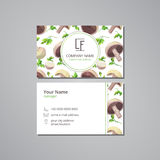 Vector visit card with pattern mushrooms and parsley. On grey field Royalty Free Stock Photos